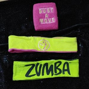 Zumba Lot-Sweat Wristband & 2 Headbands